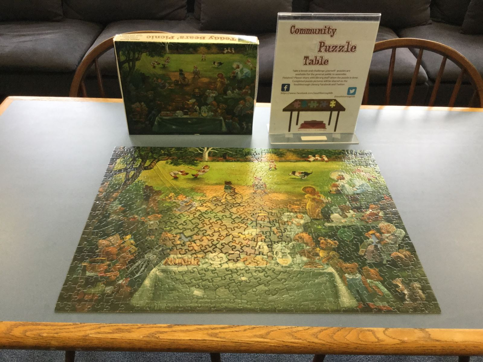 Completed picnic puzzle