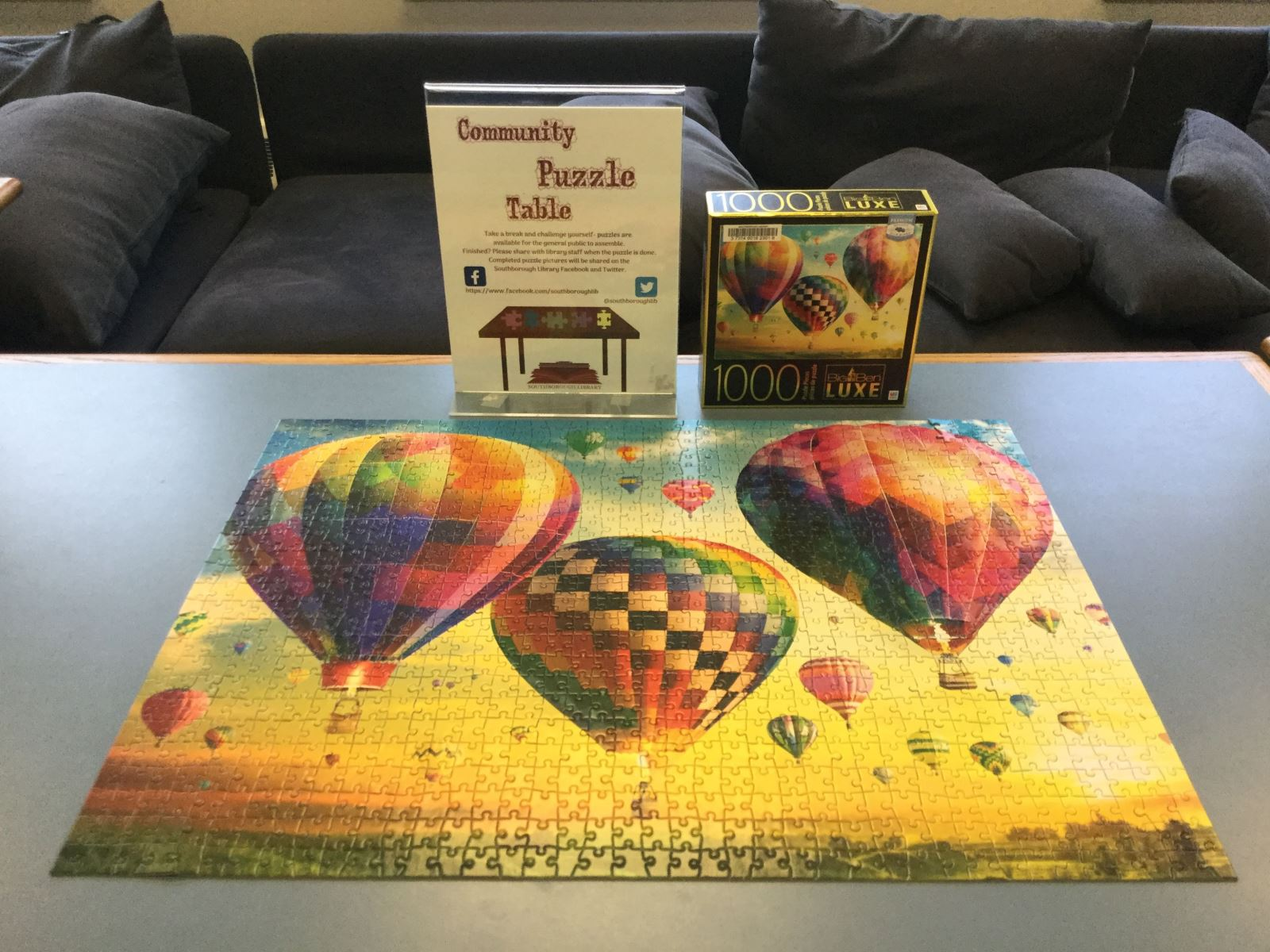 Completed hot air balloon puzzle